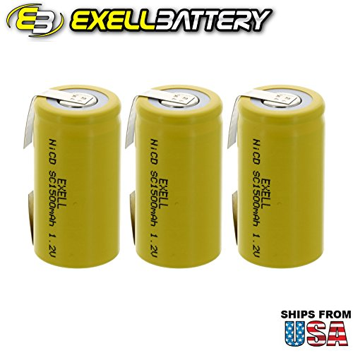 3x Exell SubC 1.2V 1500mAh NiCD Rechargeable Batteries with Tabs for medical instruments/equipment, electric razors, toothbrushes, radio controlled devices, electric tools