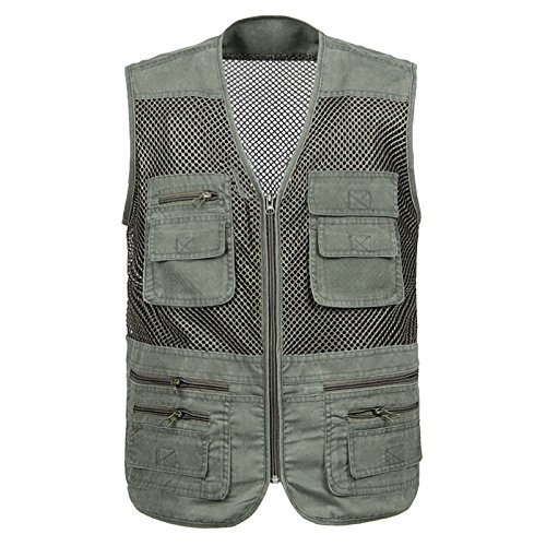 Ziker Firstvest Men's Fishing Photography Multi-pocket Mesh Vest Waistcoat (Army Green, Large)