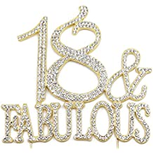 18 and Fabulous - 18th Birthday Cake Topper, Crystal Rhinestone Gold
