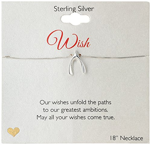 Womens Wishbone - Sterling Silver Wishbone Pendant Necklace, 18