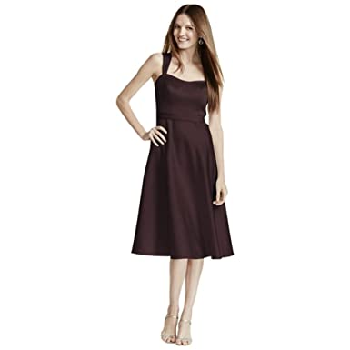 b970e8f092c33 David's Bridal Satin Wide Strap Tea Length Bridesmaid Dress Style F14556,  Truffle, 8 at Amazon Women's Clothing store: