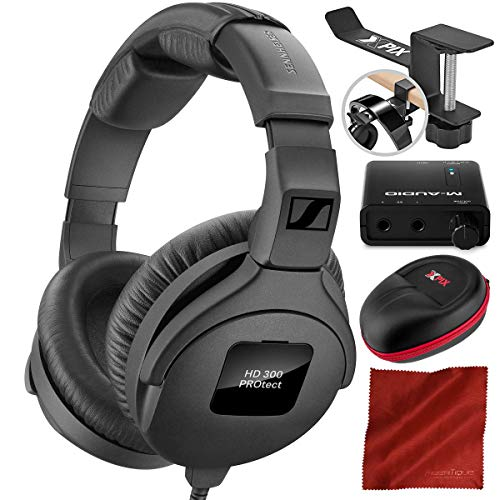 Sennheiser HD 300 Pro Collapsible High-End Monitoring Headphones with Amplifier and Case Deluxe Bundle (300 Sennheiser)