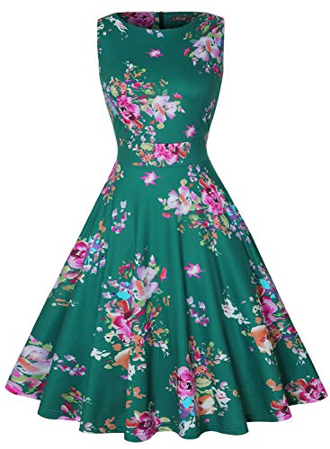 IHOT Vintage Tea Dress 1950's Floral Spring Garden Retro Swing Prom Party Cocktail Dress for Women (S, Green Pink Floral)