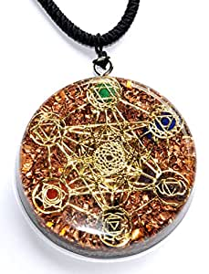 Metatron's Cube Merkaba 7 chakras w/ Crystals Stones Orgone Pendant Generator Energy Accumulator EMF protection 2.25 inch