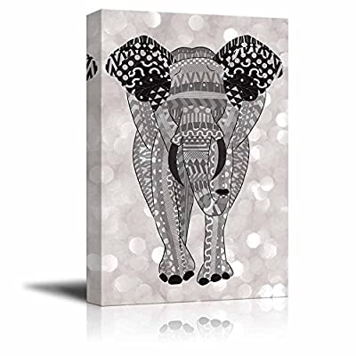 Marvelous Work of Art, Classic Design, Gray Hand Drawn Zentangle Elephant on a Silver Colored Bokeh Background