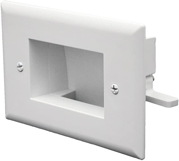 DataComm Electronics 45-0001-WH 1-Gang Recessed Low Voltage Cable Plate White