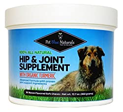 Glucosamine For Dogs, All Natural Hip & Joint Supplement For Dogs, Organic Turmeric Glucosamine Chondroitin Msm For Dogs, Arthritis & Pain Relief, 90 Soft Chews Made In Usa