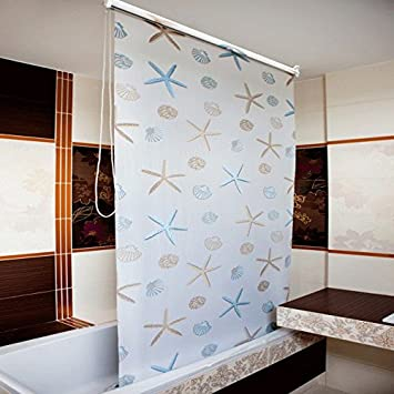 Badezimmer Rollo-Duschvorhang extra lang, 120 x 240CM: Amazon.de ...
