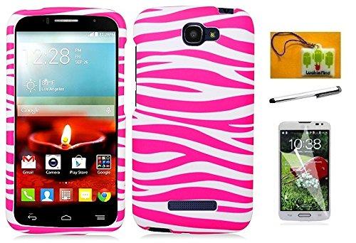 LF 4 in 1 Bundle - Designer Hard Case Cover, Stylus Pen, Screen Protector & Wiper for (Straight Talk, Net10, Tracfone) LG Ultimate 2, LG L41C (Designer Pink Zebra) ()