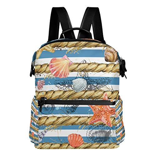 TARTINY Underwater World Seamless Pattern Coral Seashell Laptop Backpack Leather Strap School Bag Outdoor Travel Casual Daypack