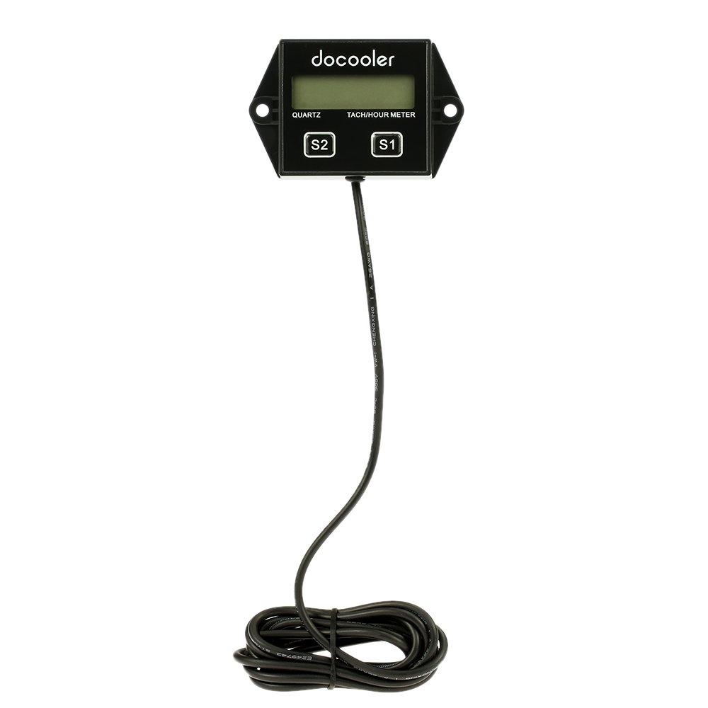 Docooler Digital Engine Tach Tachometer Hour Meter Gauge Resettable Inductive for Racing Motorcycle