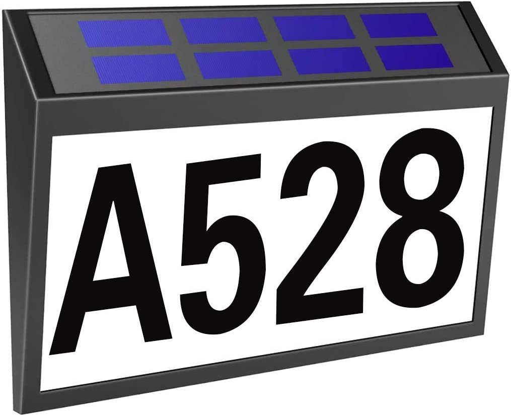 Solar House Numbers Sign, Solar Powered LED Illuminated Address Number Light for Home Yard Street,Rainproof Outdoor Address Plaques, Packed with 3 Sets Numbers & 26 Letters Self Stickers-Black