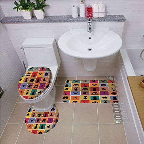 Bath mat Set Round-Shaped Toilet Mat Area Rug Toilet Lid Covers 3PCS,Vintage Halloween,Bats Cats Owls Haunted Houses in Squraes Halloween Themed Darwing Art Decorative,Multicolor,Printed