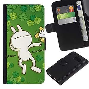Planetar® Modelo colorido cuero carpeta tirón caso cubierta piel Holster Funda protección Para Samsung Galaxy S6 / SM-G920 ( Cute Live Green Rabbit )