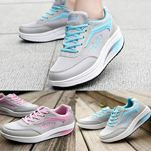 Suave Casual Azul Zapatillas Balanceo Moda Mujer Deportivo Fondo Aumento Y De Zapatos Corriendo Calzado Quicklyly 7wHYRR