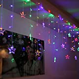 SHHE Fairy Lights Stars Led Curtain Lights 1.5m * 0.65m 8 Modes Curtain Icicle String Lights for Wedding Christmas Bedroom Party Window Wall Decoration(Colored)