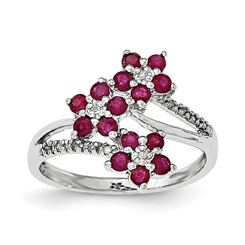 ICE CARATS 925 Sterling Silver 3 Flower Red Ruby Diamond Band Ring Size 8.00 Flowers/leaf Gemstone Fine Jewelry Gift For Women Heart by ICE CARATS