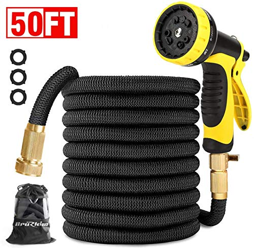 BruRkim 50ft Expandable Garden Hose, Leakproof Lightweight Water Hose with Double Latex Core, 3/4 Solid Brass Fittings, Extra Strength Fabric, Flexible Expanding Hose with 9 Function Spray Nozzle Car