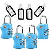 TSA Travel Locks Security 3 Digit Combination Suitcase Luggage Bag Code Lock Padlock 4 Pack Locks
