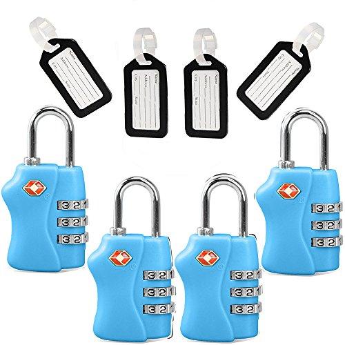 TSA Travel Locks Security 3 Digit Combination Suitcase Luggage Bag Code Lock Padlock 4 Pack Locks by Zhovee