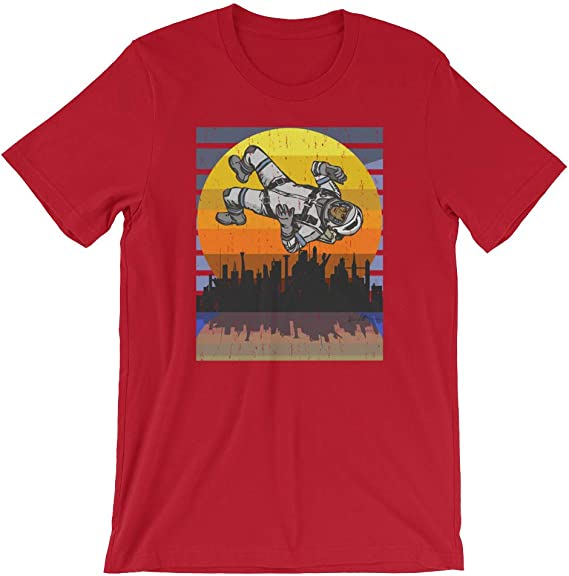 Cool Graphic Skyline Astroworld Astronaut in Space Space Force Funny Tee Red Unisex T-Shirt