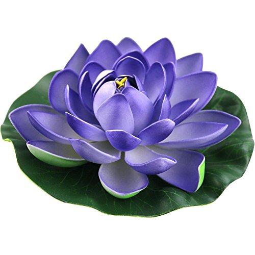 - JAROWN 4pcs Artificial Lotus Flowers EVA Floating Water Lily Leaves Plants for Fish Tank Aquarium Pond Decoration(18cm, Purple)