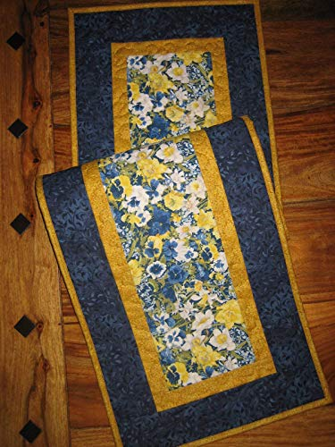 """Quilted Table Runner, Blue Yellow Pansies Daffodils 13x47"""" Dining Table from Tahoe Quilts"""
