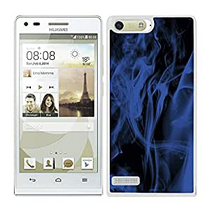 Funda carcasa para Huawei P7 Mini diseño efecto humo azul borde blanco