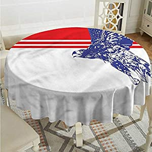 Tim1Beve Eagle Anti-Fading Tablecloths American Flag Colors Bird Table Cover for Dining D50 INCH