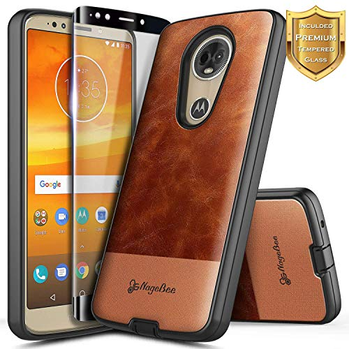 NageBee Moto E5 Plus Case, Moto E5 Supra Case w/[Full Coverage Tempered Glass Screen Protector], Premium [Cowhide Leather] Shockproof Hybrid Rugged Case for Motorola Moto E Plus (5th Gen) -Brown