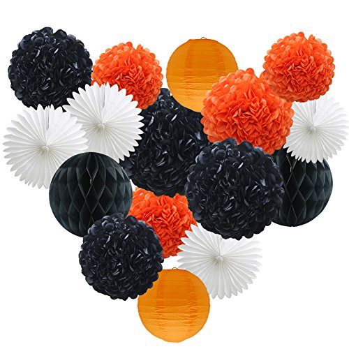 Party Decorations Kit - 16pcs Paper Tissue Honeycomb Balls Lanterns Paper Pom Poms Flowers Hanging Fan for Halloween Bridal Baby Shower Birthday Wedding School Graduation (Orange Black White) -