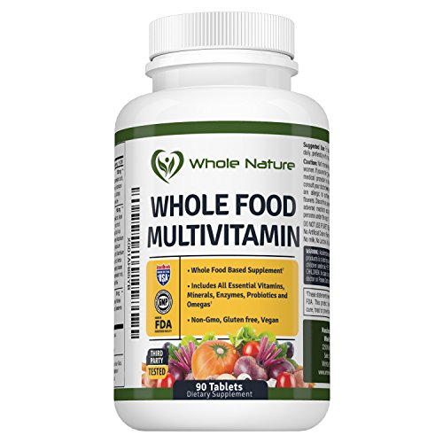 Whole Food Multivitamin for Men and Women : Whole Nature Complete Daily Superfood Vitamins Plus Minerals Digestive Enzymes, Probiotics and Omegas. Plant Based Multi Vitamin, Non GMO Gluten Free,Vegan