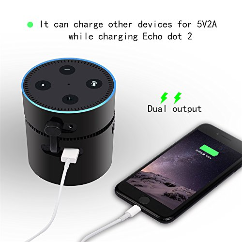 Price comparison product image Hulorry Battery Base for Amazon Echo dot 2 Portable Intelligent 10000mAh Battery Charging Cradle Echo Speaker Stand USB Output,5V-2A Support two-way fast charge