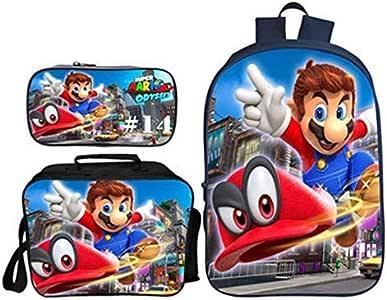 Mochila Super Mario Niño, Super Mario Bros Mochila De Estudiante Bolsa De Almuerzo Estuche para Lápices Escolar para Infantil Unisex Juego de 3 Bolsas Impresión 3D Backpack para Estudiantes (028): Amazon.es: Equipaje