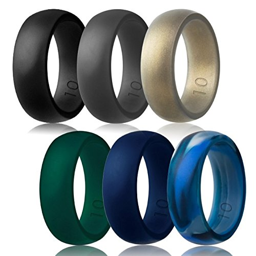 Silicone Wedding Ring,Silicone Wedding Band for Men(Love,Outdoor,Sport) (Black,Midnight Blue,Dark Green,Dark Grey,Arctic Camo,Pale Gold, 9)