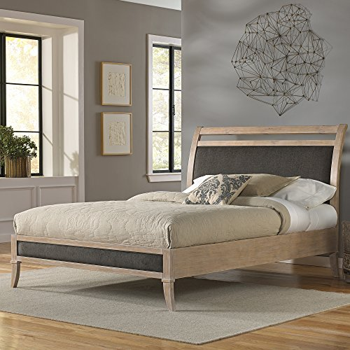Delano Platform Bed with Wood Frame and Sleigh-Style Upholstered Headboard, Washed White Finish, (Wood Sleigh Headboard)