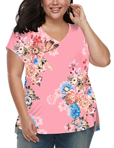 Womens Plus Size Shirts V Neck Short Sleeve Floral Tops Tees Blouses High Low Pink XL