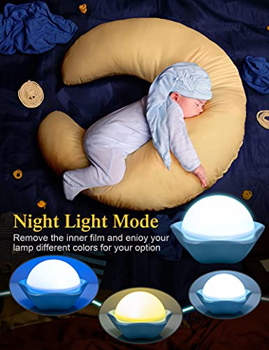 Night Light for Kids, Star Projector with 6 Sets of Film, 360 Rotating Light for Room Ceiling, Aesthetic Decor, Cute Gifts for 1-8 Year Old Girl or Boy, Built in Battery, Unicorn Toy, Portable, Bule