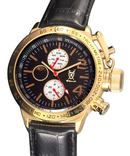 Amazon.com: Konigswerk Mens Classic Black Leather Watch Gold Tone Case Multifunction Day Date Sun Moon Dial AQ201767G: Konigswerk: Watches