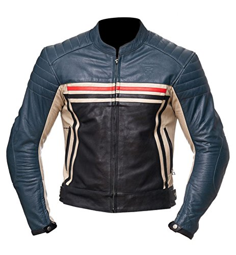- Mens Motorbike Leather Jacket Blue/Black Small to 5XL Size Motorcycle Jackets for Rider with CE Approved Armour (XL)