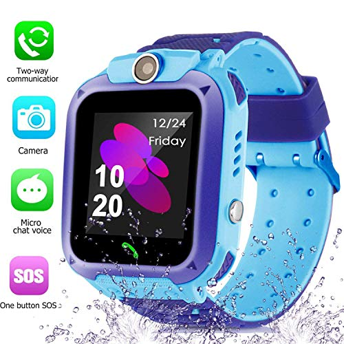 Smart Watch for Kids GPS Tracker - IP67 Waterproof Smartwatches with SOS Voice Chat Camera...