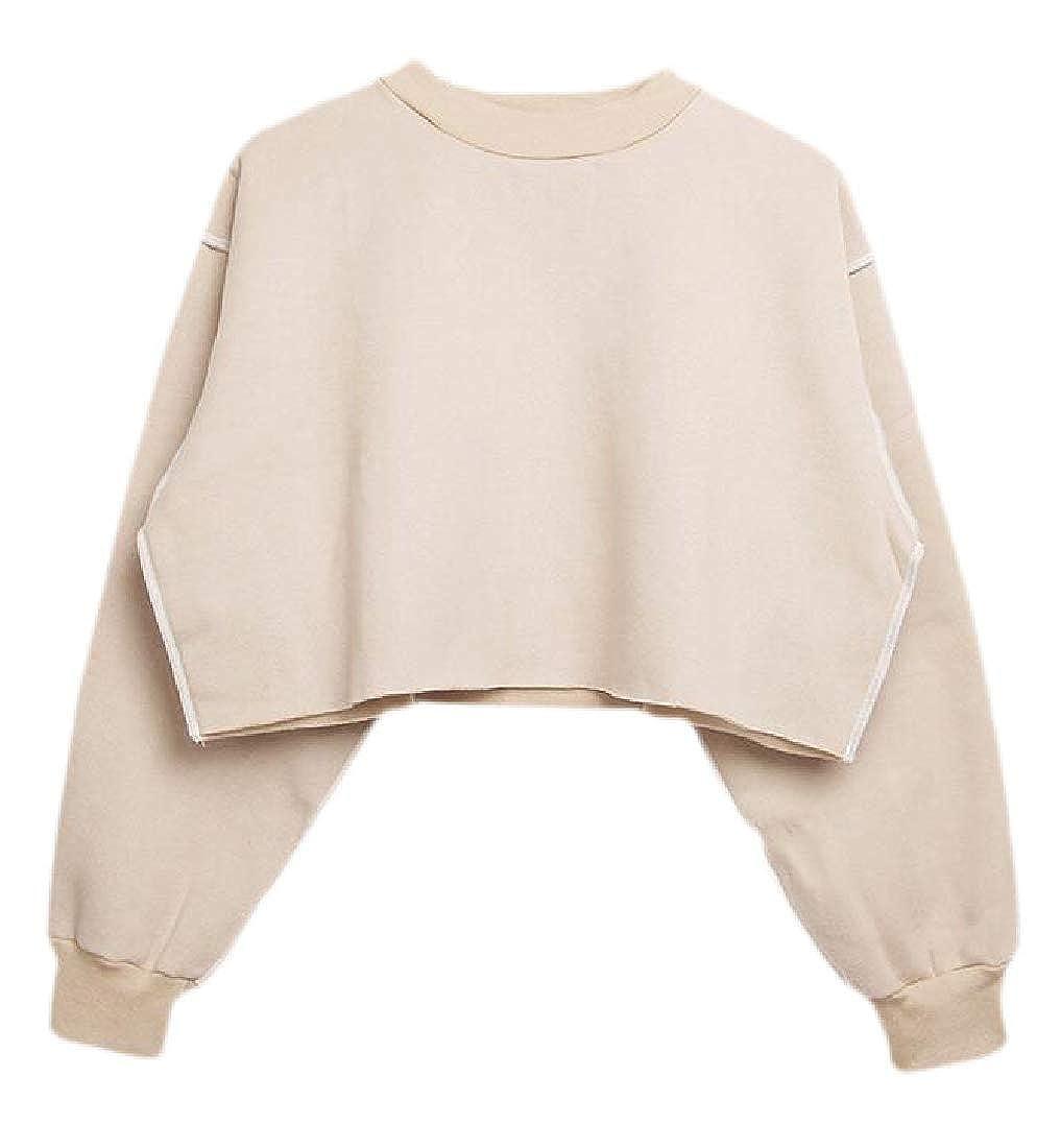 Cromoncent Women Crop Top Long-Sleeve Loose Pullover Casual Sweatshirts