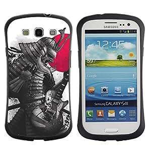 Hybrid Anti-Shock Bumper Case for Samsung Galaxy S3 / Japanese Samurai Warrior & Guitar