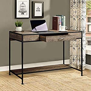 Aingoo Large Writing Desk with Drawer 43x22 Rustic Computer Desk Slim Metal MDF Wood Grain Workstation for Brown…