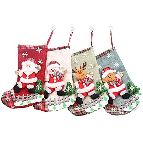 DotPet Cute Christmas Stocking, 4PCS Santa Snowman Reindeer Bear Xmas Character 3D Plush Linen Christmas Stocking Gift Bag Christmas Tree Ornament for Kids Home Office Party Decor (4 Pack)