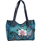 Anuschka Anna by Handpainted Leather Medium Shoulder Bag, Denim Paisley Floral