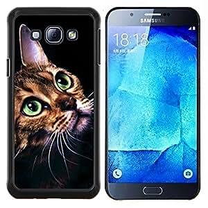 TECHCASE---Cubierta de la caja de protección para la piel dura ** Samsung Galaxy A8 ( A8000 ) ** --Gato Ocicat Savannah Serengeti Bengala
