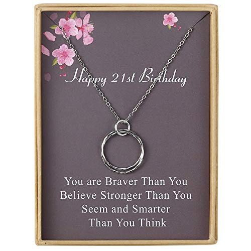 Estendly Happy 21th Birthday Gifts for Women Necklace Circles Pendant Necklace Birthday Gift for Women Grils -