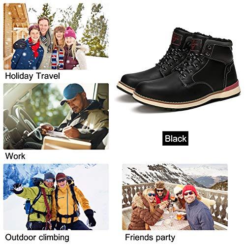Invernali Piatto Sportive Da A8387 Uomo Stivaletti Boots Caviglia Pelliccia Allineato nero Scarpe Caloroso Neve Abtop Escursionismo Stivali xURwqvBI