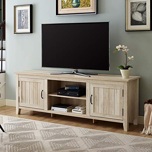 (70-inch Farmhouse Console - TV Stand with Side Beadboard Doors - Wooden Entertainment Center Media Cabinet (White Oak))